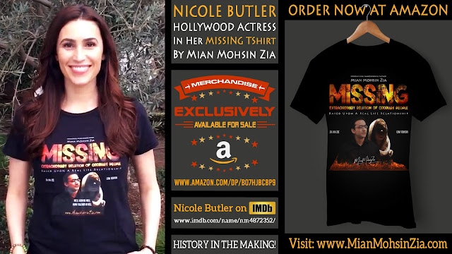 Nicole Butler, Hollywood Actress in her Branded MISSING TShirt by Mian Mohsin Zia