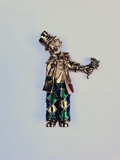 Vintage clown brooch 1980s enamel