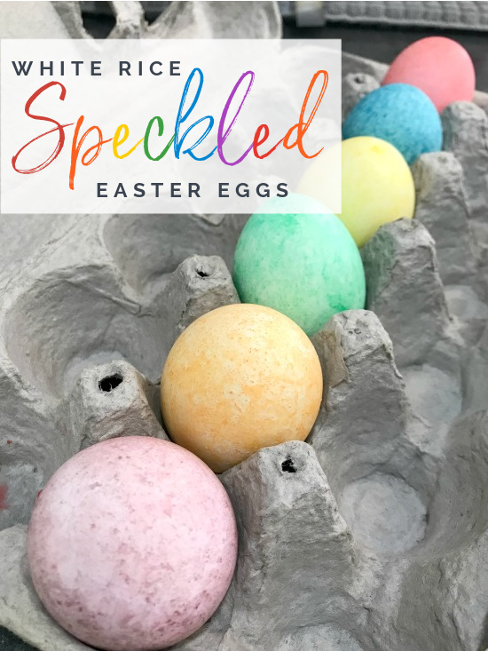 Carton of rainbow eggs with Pinterest overlay