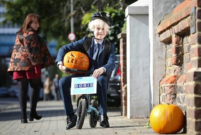 Dressed as a boy of British Prime Minister Boris