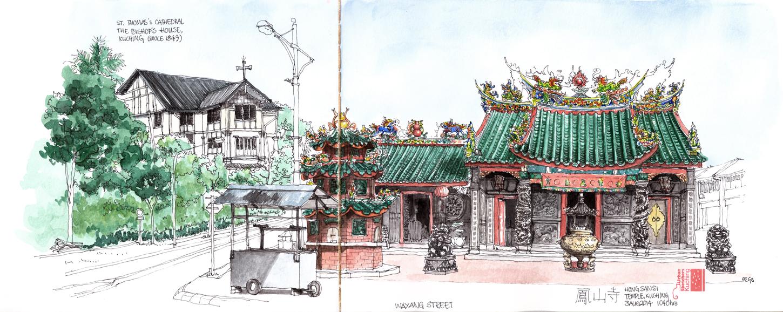Temples in Old Kuching Precinct | Urban Sketchers