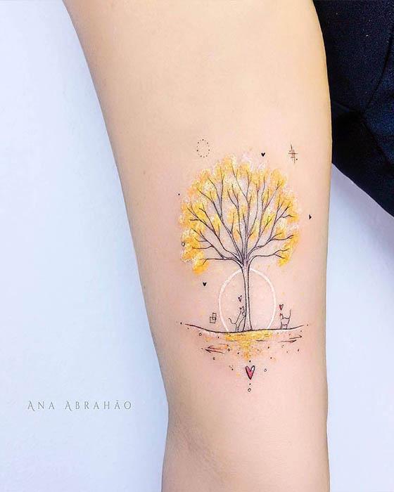 tatuaje tumblr de colores brazo