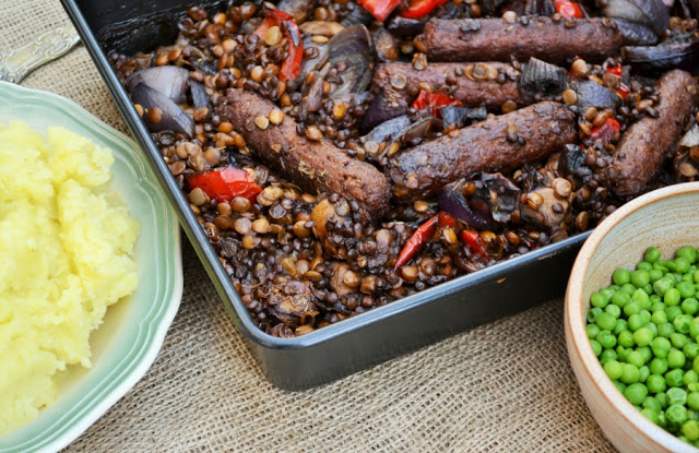 Veggie Sausage, Lentil and Red Pepper Bake