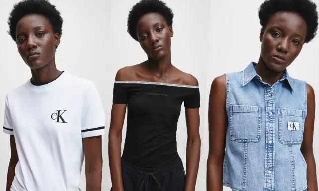 Modelo angolana Sompa António pela primeira vez na coleção de Calvin Klein