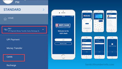 Select Cards option on HDFC Mobile app