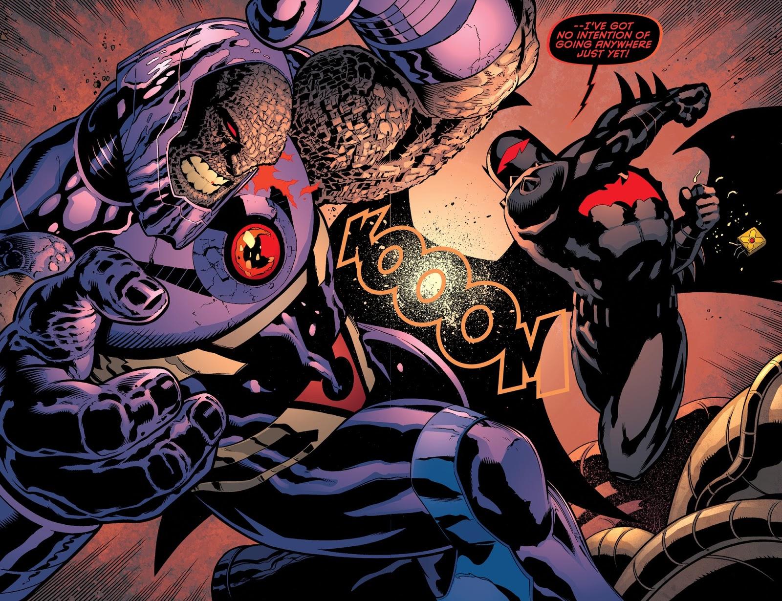 Batman fights Darkseid in a Hellbat suit