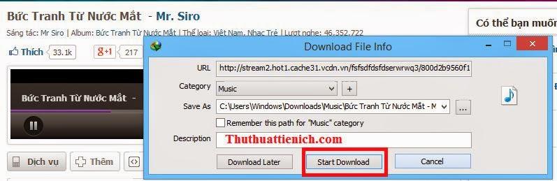 Download nhạc miễn phí về máy tính bằng IDM