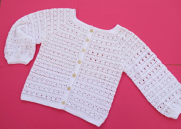 1 - Crochet Imagen Chaqueta blanca a crochet y ganchillo por Majovel Crochet