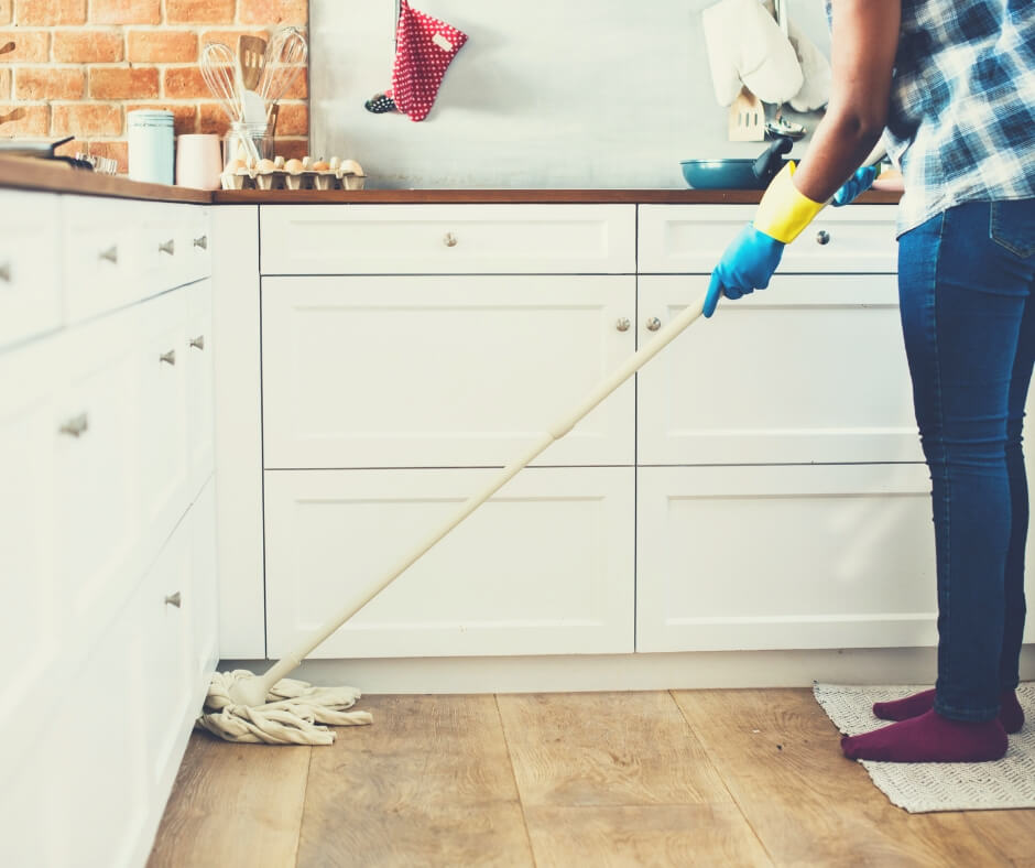 Teach Your Kids What Stay-at-Home Mums Do | Time to mop the kitchen floor - get the kids involved.