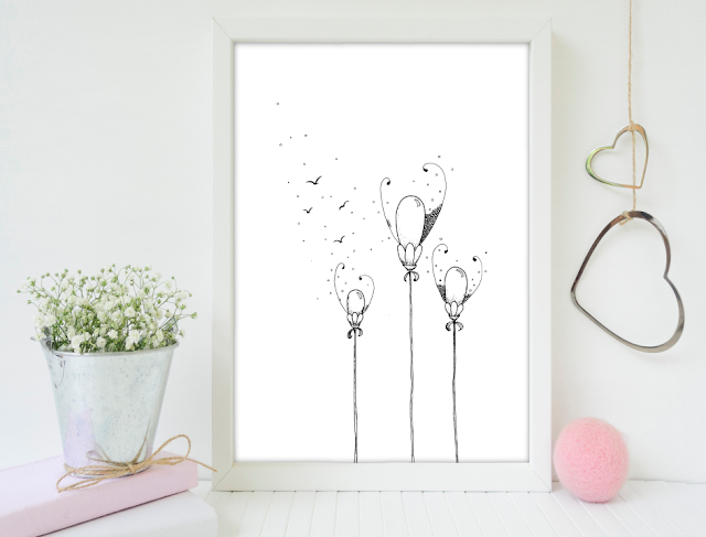3 Balloon Flowers Ink Art
