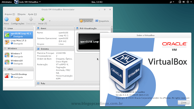 Oracle VM VirtualBox executando no Debian 8.6 Jessie
