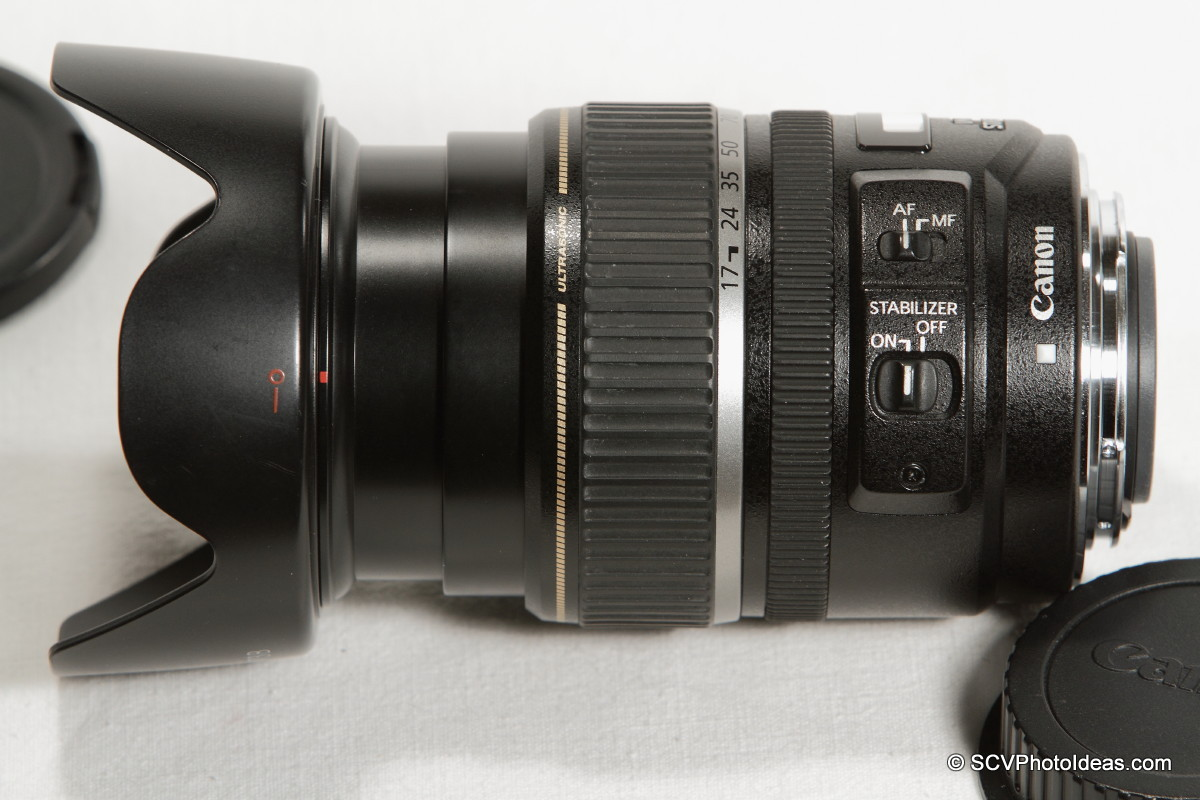 Canon EF-S 17-85mm F/4.0-5.6 IS USM - w/ EW-73B hood side view