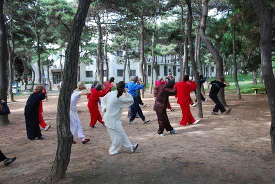 Gruppe im Park beim Sport