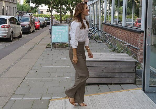 Hallie ecovero classic, casual, and fluid shirt, silk blouse white ivory collarless 3/4 sleeve, brown trousers
