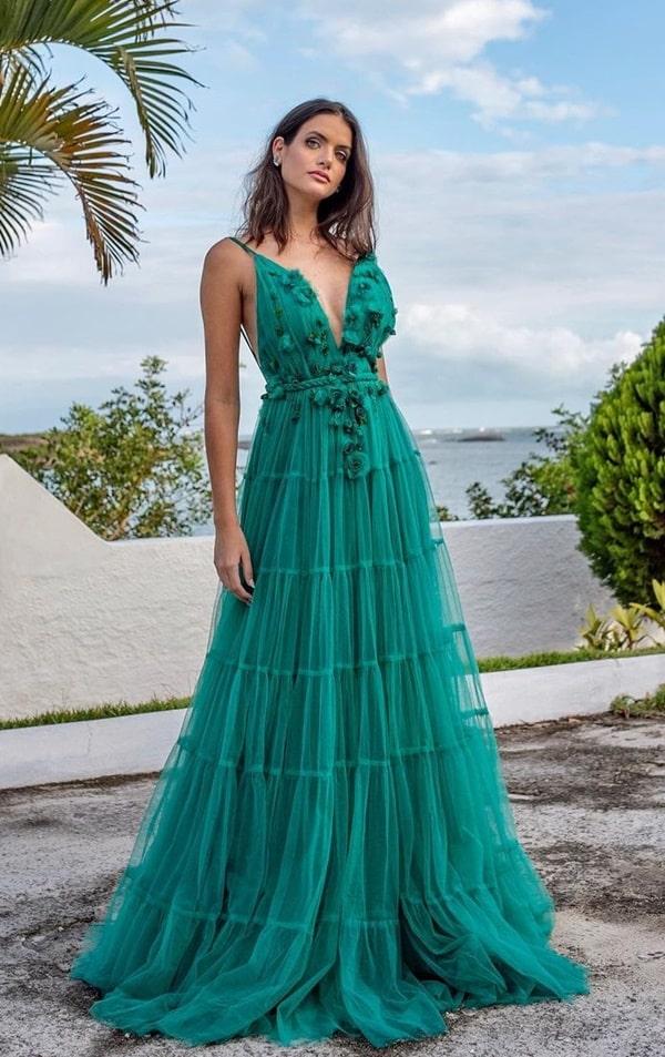vestido longo verde esmeralda para madrinha de casamento