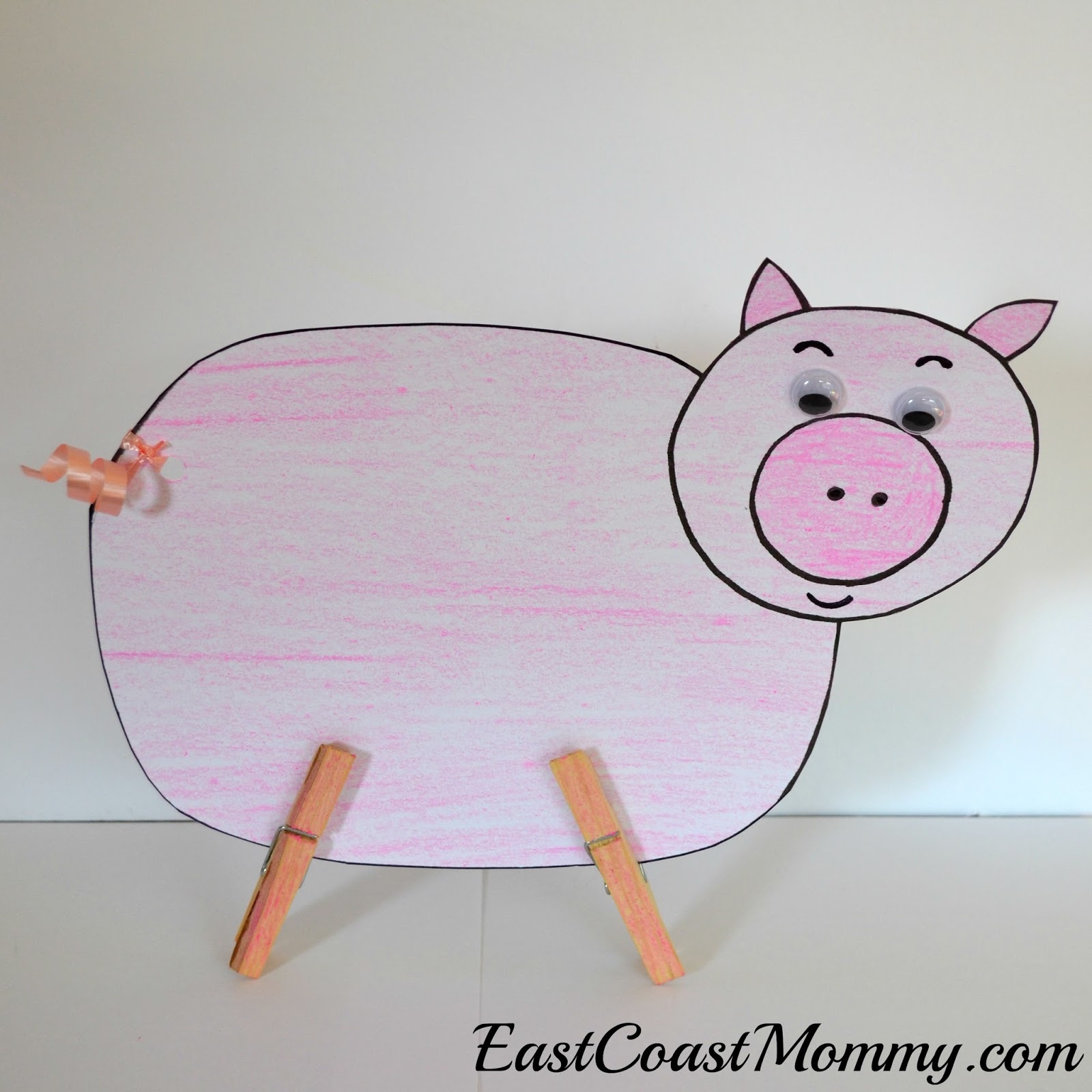 East coast mommy preschool theme farm animals for Pig template for preschoolers