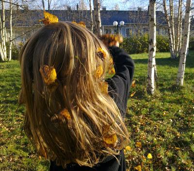 aurinko, lehdet, lokakuu, hiukset