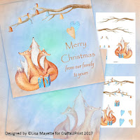 Winter Holiday Foxes Card Making Kit