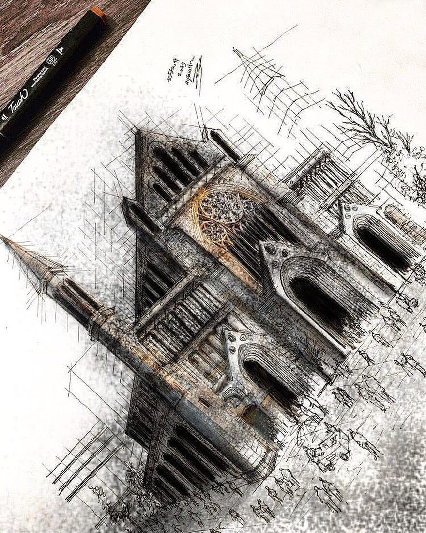 01-St-Albans-Erfan-Hasankhani-Ink-and-Color-Architectural-Drawings-www-designstack-co
