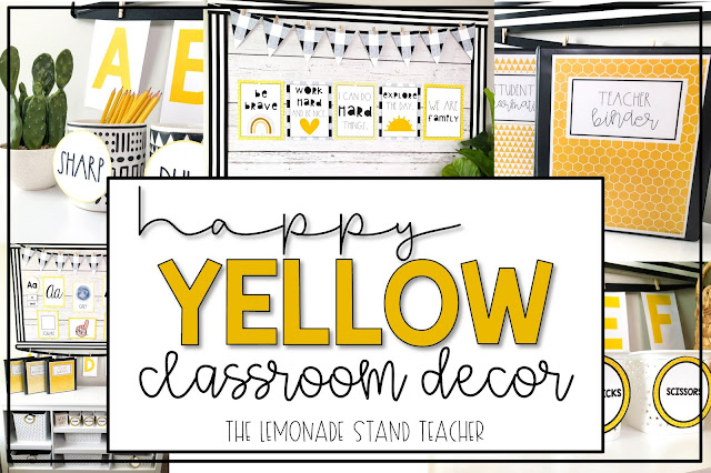 yellow classroom decor