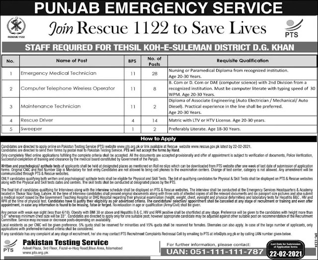 Punjab Emergency Service Rescue 1122 Jobs 2021 - Rescue 1122 Jobs 2021
