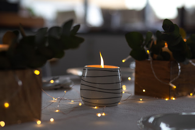 Table Decoration Candles & Fairy Lights Close-Up Photography