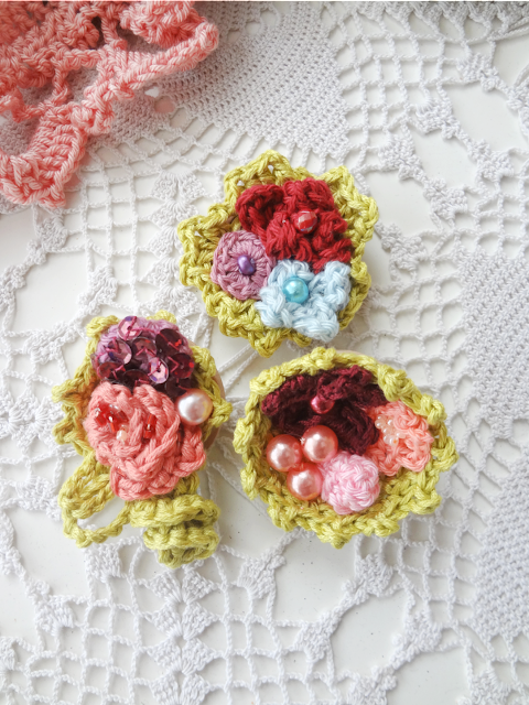 Wooden Floral Brooches