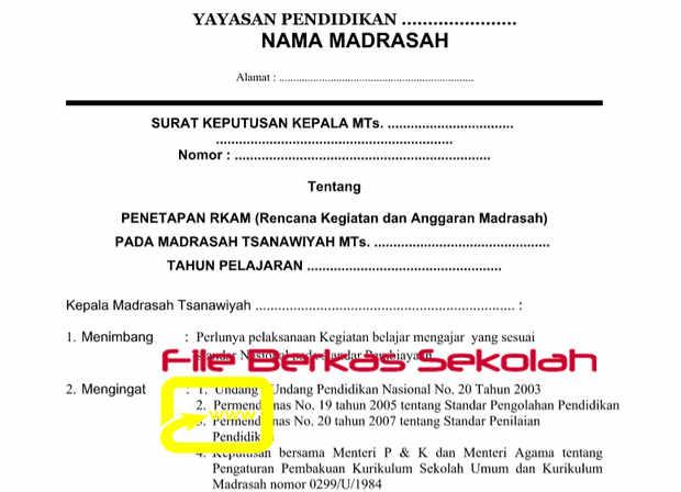 Contoh SK Penetapan RKAM Format Word
