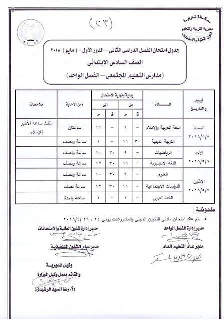 """جدول امتحانات الصف السادس الأبتدائي 2018 محافظة المنوفية الترم الثاني """" آخر العام """""""