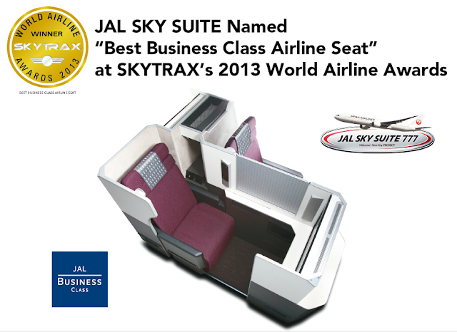 JAL SKY SUITE won SKYTRAX's Best Business Class Airline Seat award.