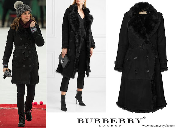 Kate Middleton wore Burberry Double breasted suede trench coat