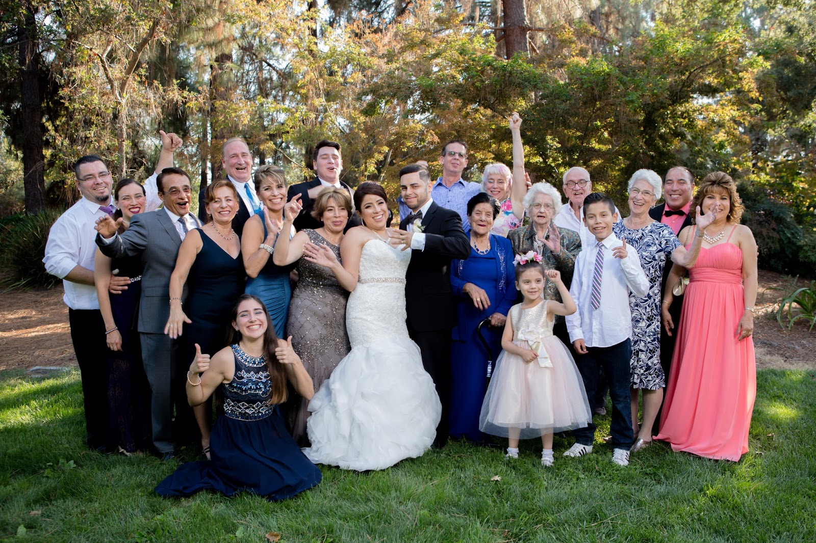 Bride and Groom celebrate with Bride's Family
