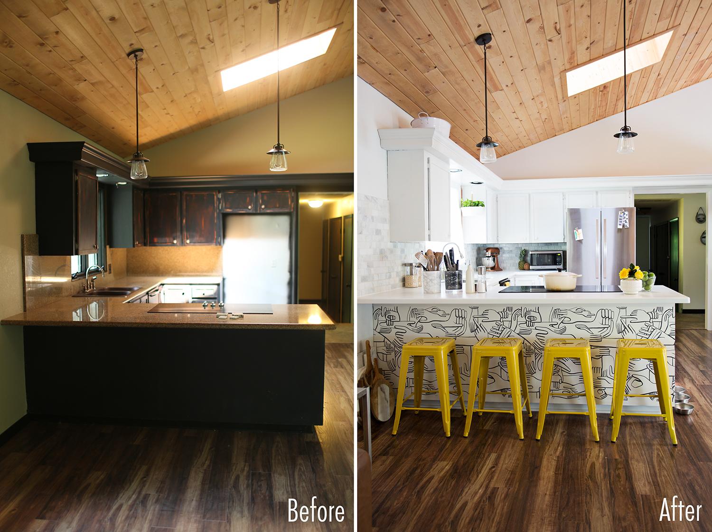 Antes y despu s de una cocina sin obras blanco y de madera for Cocinas antes y despues