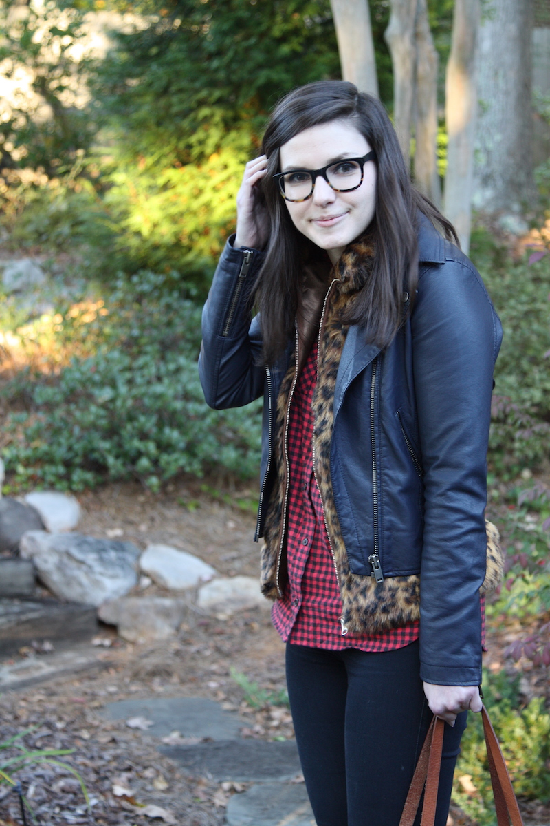 2017, fall, layering, cheetah, leather, OOTD, flannel,