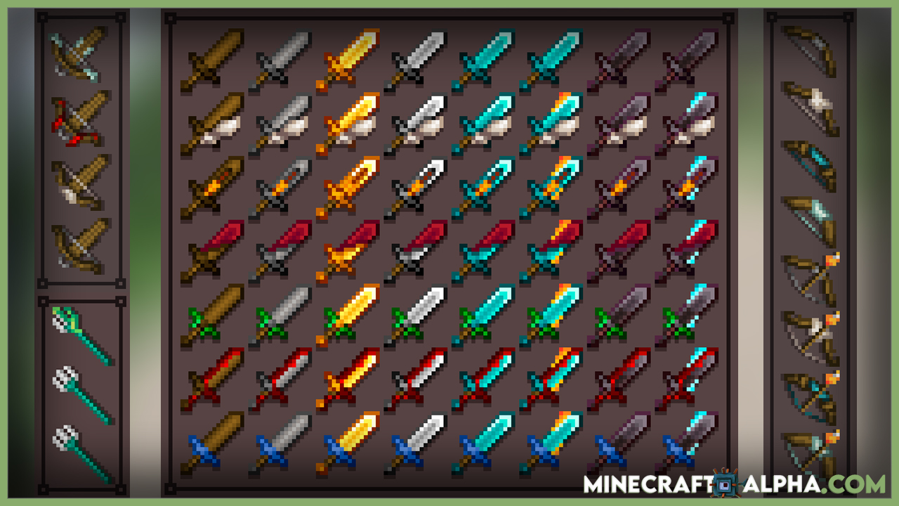 Enchanted Weapons Resource Pack 1.17.1 (Enchanted Books That Changes Swords Appearance)