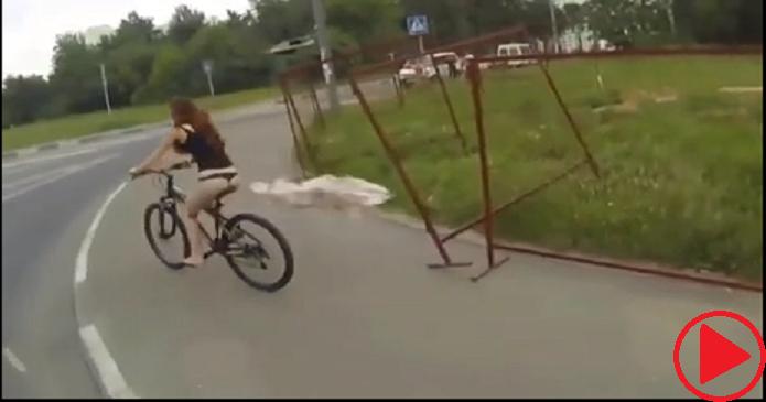 The girl on the bike!