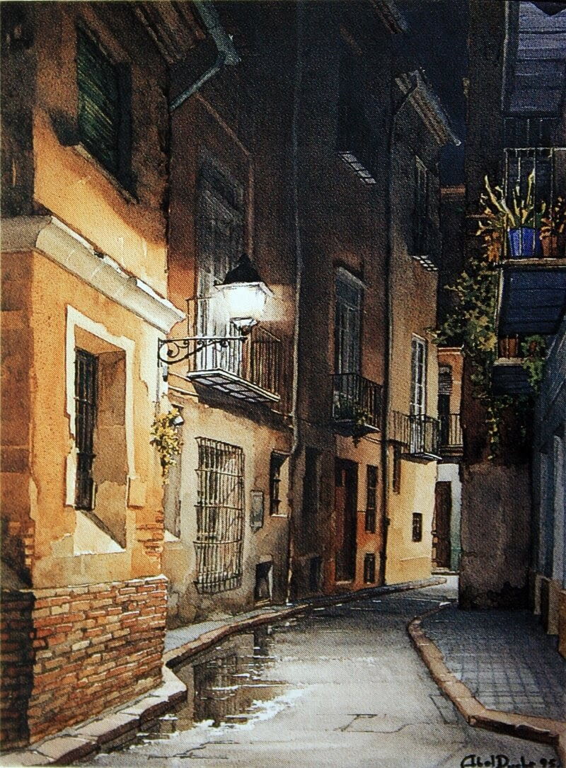 01-Abel-Puche-Watercolor-Paintings-of-the-City-at-Night-www-designstack-co