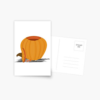 Carving a Pumpkin Postcard