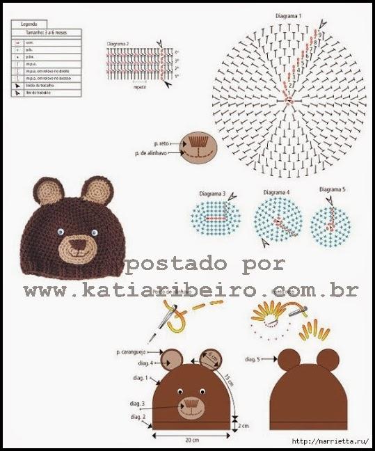 Ursinho Pooh – amigurumi – Gráficos e Receitas | 648x539