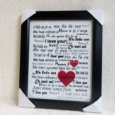 I love You In Nigerian Languages Wall Frame Gift for Lovers in Port Harcourt, Nigeria