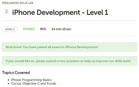 freelancer exams iPhone Development Level 1 Basics Programming Cocoa XCode Objective C