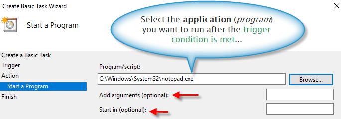 Application program selection for a custom task