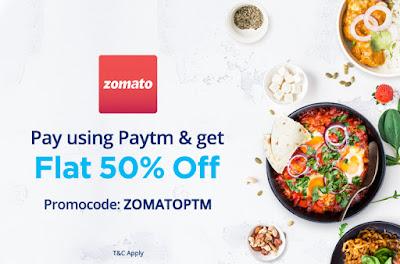 PayTM Offer - Zomato per paye 50% off