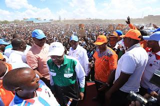 Kalonzo Musyoka with other NASA leaders including Moses Wetangula in Kajiado. PHOTO | Courtesy