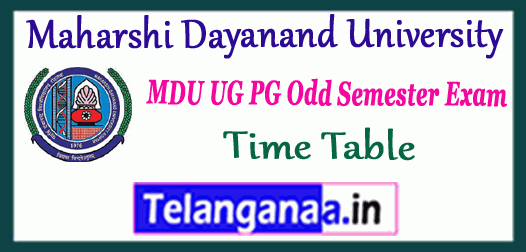 MDU Maharshi Dayanand University 1st 3rd 5th 7th Semester UG PG Exam Time Table