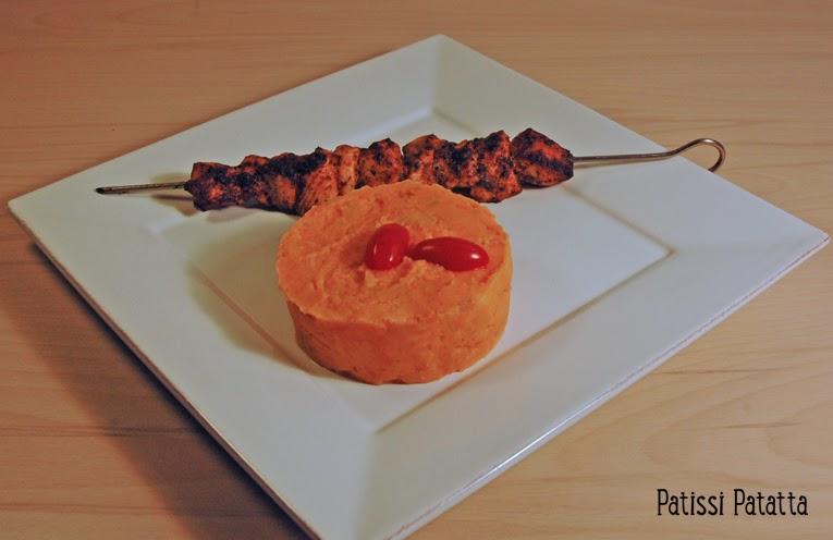 recette de purée exotique, recette de brochette piquante, purée de patates douces et bananes, mashed sweet potatoes