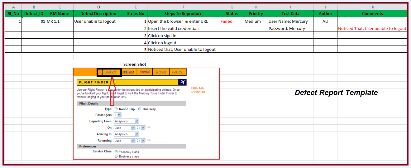 Defect report template defect reporting template excel for Defect report template xls
