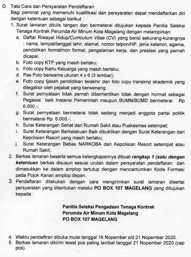 Lowongan Kerja SMK SMA D3 S1 PDAM Kota Magelang November 2020