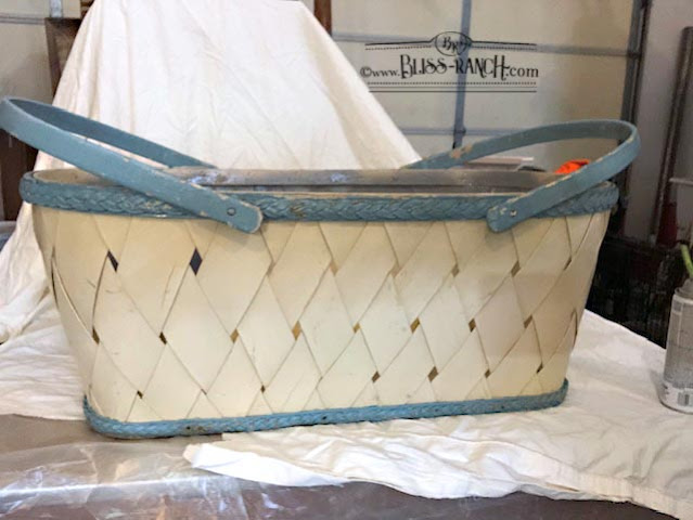 Vintage Laundry Basket Stand, stenciled makeover, Bliss-Ranch.com