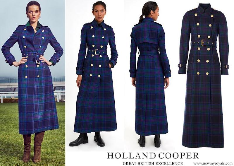 Kate Middleton wore Holland Cooper Full Length Marlborough Trench Coat Heather Tartan